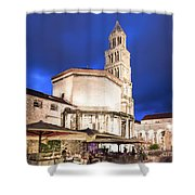 A Night View Of The Cathedral Of Saint Domnius In Split Shower Curtain