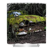 A Non Rolling Car Gathers Some Moss Shower Curtain