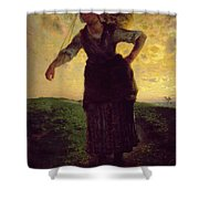 A Norman Milkmaid At Greville Shower Curtain