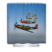 A P-36 Kingcobra, Two Curtiss P-40n Shower Curtain