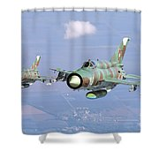 A Pair Of Bulgarian Air Force Mig-21bis Shower Curtain