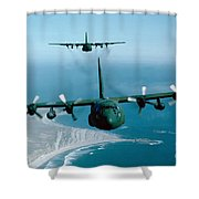 A Pair Of C-130 Hercules In Flight Shower Curtain