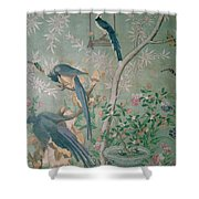 A Pair Of Magpie Jays  Vintage Wallpaper Shower Curtain