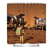 A Pair Of Manned Mars Rovers Rendezvous Shower Curtain