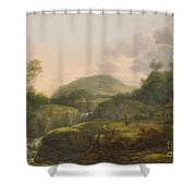 A Pair Of Mountain Landscapes With Staffage Shower Curtain