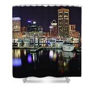 A Panoramic Baltimore Night Shower Curtain