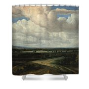 A Panoramic Landscape With A Country Estate Shower Curtain