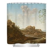 A Panoramic River Valley Landscape With Figures And Village Below Shower Curtain