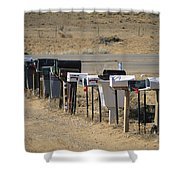 A Parade Of Mailboxes On The Outskirts Shower Curtain