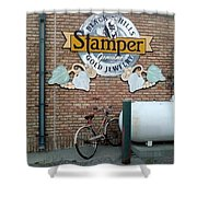 A Parked Bicycle Shower Curtain
