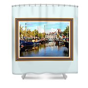 A Peaceful Canal Scene - The Netherlands L A S With Decorative Ornate Printed Frame. Shower Curtain