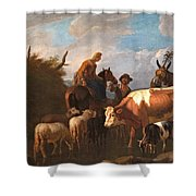 A Peasant Couple Amongst Their Cattle And Sheep Shower Curtain