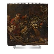 A Peasant Family Dining In An Interior  Shower Curtain