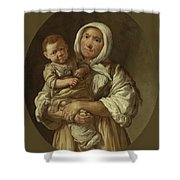 A Peasant Mother With Her Child In Her Arms Shower Curtain