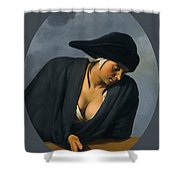 A Peasant Woman Wearing A Black Hat Leaning On A Wooden Ledge Shower Curtain