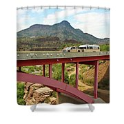 A Pickup Pulling A Travel Trailer Across The Salt River Canyon B Shower Curtain
