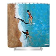 A Piece Of The Beach - Orange Swim Shower Curtain