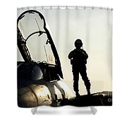 A Pilot Prepares To Enter His F-14b Shower Curtain by Stocktrek Images