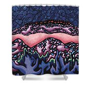 A Pink Line At Night Shower Curtain by Dale Beckman
