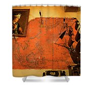 A Pirates Map Room Shower Curtain