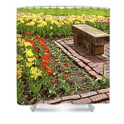 A Place To Sit By The Flowers Shower Curtain