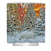 A Polar Bear Christmas Shower Curtain