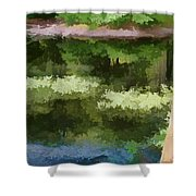 A Pond Reflection Shower Curtain