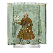 A Portrait Of A Nobleman Holding A Falcon Shower Curtain