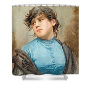 A Portrait Of A Young Woman In A Blue Dress Shower Curtain