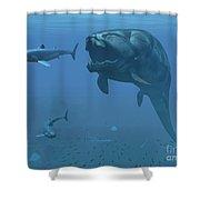 A Prehistoric Dunkleosteus Fish Shower Curtain