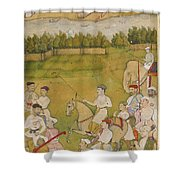 A Prince Rides Out With A Hunting Party Shower Curtain