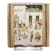 A Princess With Attendants On A Terrace Shower Curtain
