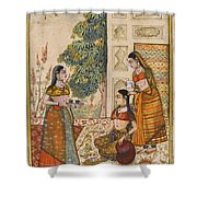 A Princess With Her Maidservants On A Terrace Shower Curtain