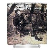 A Pushkin On A Garden Bench 1899 Valentin Serov Shower Curtain