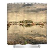 A Quiet Little Harbor Shower Curtain