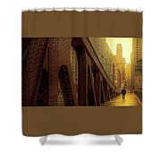 A Quiet Sunday Morning In Chicago Shower Curtain