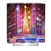 A Radio City Music Hall Christmas Shower Curtain