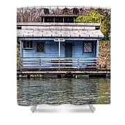 A Raft House Moored To The Shoreline Of Ada Ciganlija Islet Shower Curtain
