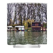 A Raft Houses Moored To The Shoreline Of Ada Medjica Islet Shower Curtain