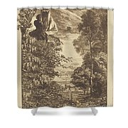 A Rainbow Landscape With Two Women Viewing It From Above Shower Curtain