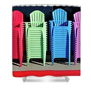A Rainbow Of Chairs Shower Curtain