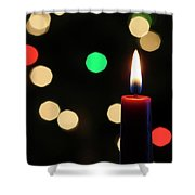 A Red Christmas Candle With Blurred Lights Shower Curtain