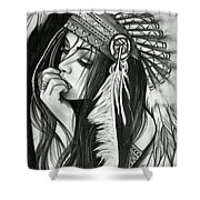 A Red Indian Girl Shower Curtain