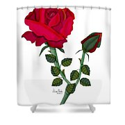 A Red Rose Blooms In Winter Shower Curtain