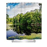 A Reflected Forest On A Lake With Lily Pads Shower Curtain