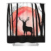 A Reindeer In The Woods Shower Curtain