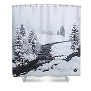 A River And Winter Landscape In Austria Shower Curtain