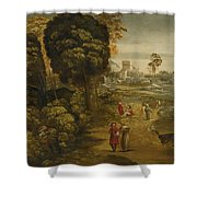 A River Landscape With Figures On A Country Road Shower Curtain