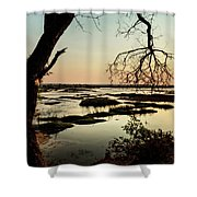 A River Sunset In Botswana Shower Curtain