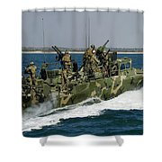 A Riverine Command Boat Conducts Shower Curtain